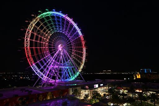 The Orlando Eye Observation Wheel lit up to show solidarity with the queer community. (Photo: AP)