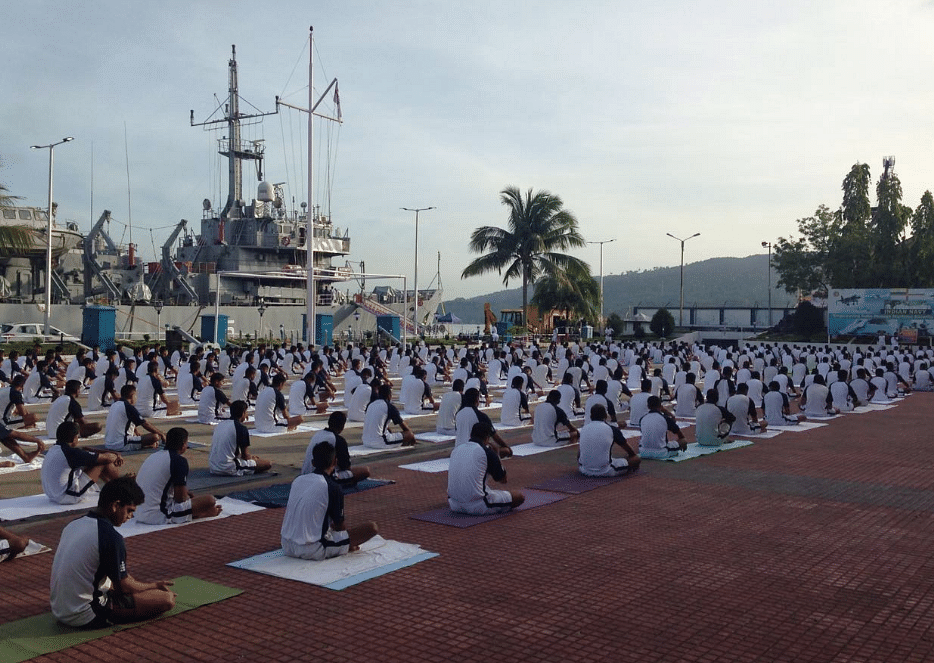 International Yoga Day celebrations at the Eastern Naval Command. (Photo: ANI)