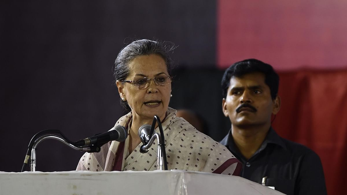 Congress President Sonia Gandhi addressing an election rally  in Chennai, Tamil Nadu on 5 May 2016. (Photo: IANS)