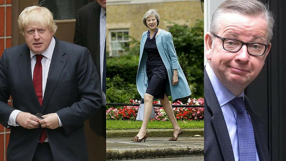 Boris Johnson(Left) pulls out of the UK Prime Ministerial race as conservatives, Theresa May(Middle) and Micheal Gove(Right) put their names forward. (Photo: <b>The Quint)</b>