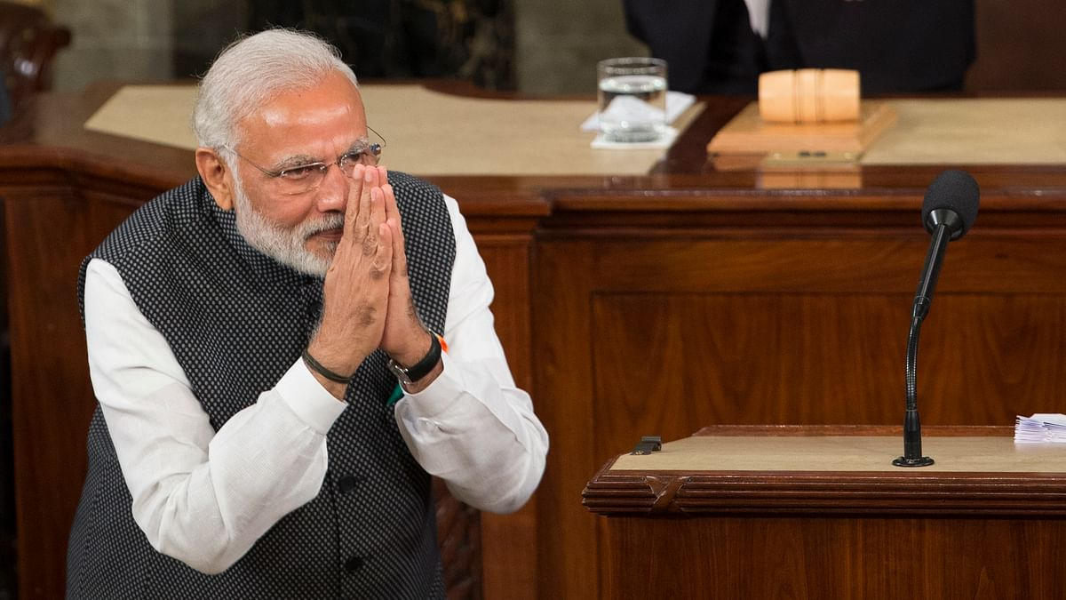 Prime Minister Narendra Modi at the  joint meeting of Congress on Capitol Hill in Washington on Wednesday. (Photo AP)