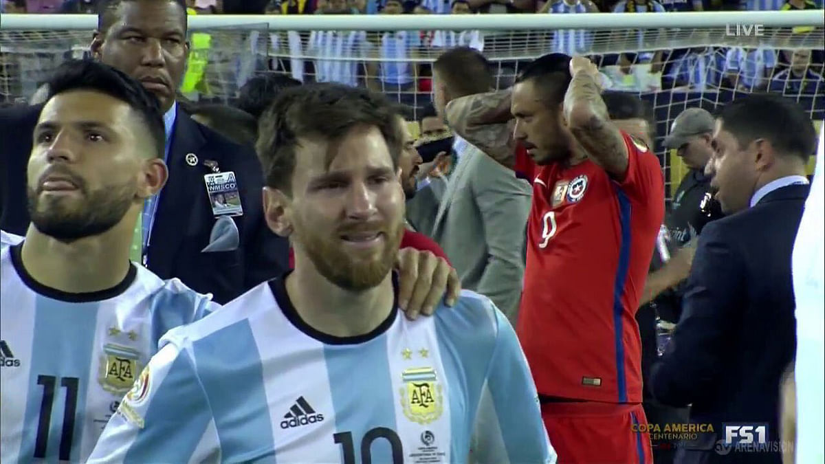 Lionel Messi was reduced to tears after Argentina lost the Copa America final to Chile on penalties.