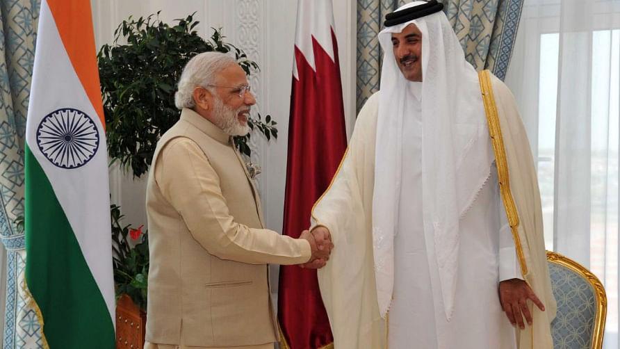 "Prime Minister Narendra Modi with Sheikh Tamim Bin Hamad Al Thani in Qatar. (Photo Courtesy: <a href=""https://twitter.com/narendramodi/status/739423977697869824"">Twitter/@NarendraModi</a>)"