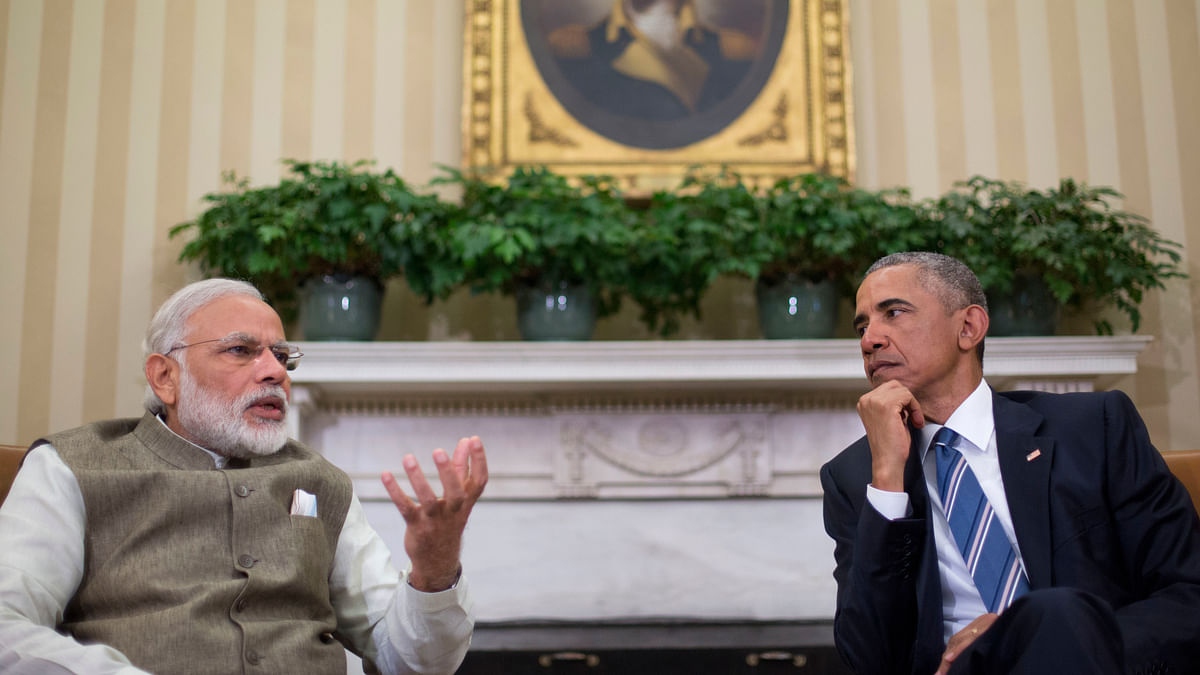 US President Barack Obama listens as Indian Prime Minister Narendra Modi speaks to members of the media. (Photo: AP)