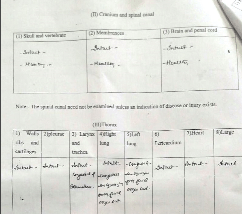 Copy of the post-mortem report provided to <b>The Quint </b>by Vinayak Panikkar.
