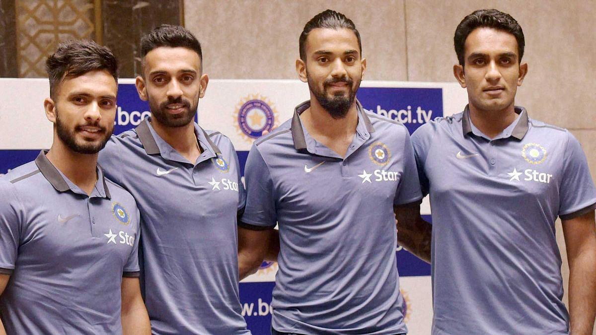 Indian cricketers Mandeep Singh, Dhawal Kulkarni, KL Rahul and Jayant Yadav during a press conference for the Zimbabwe tour in Mumbai on Tuesday. (Photo: PTI)