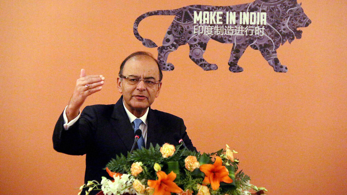 Finance Minister Arun Jaitley addresses the Invest in India Business Forum in Beijing. (Photo: PTI)