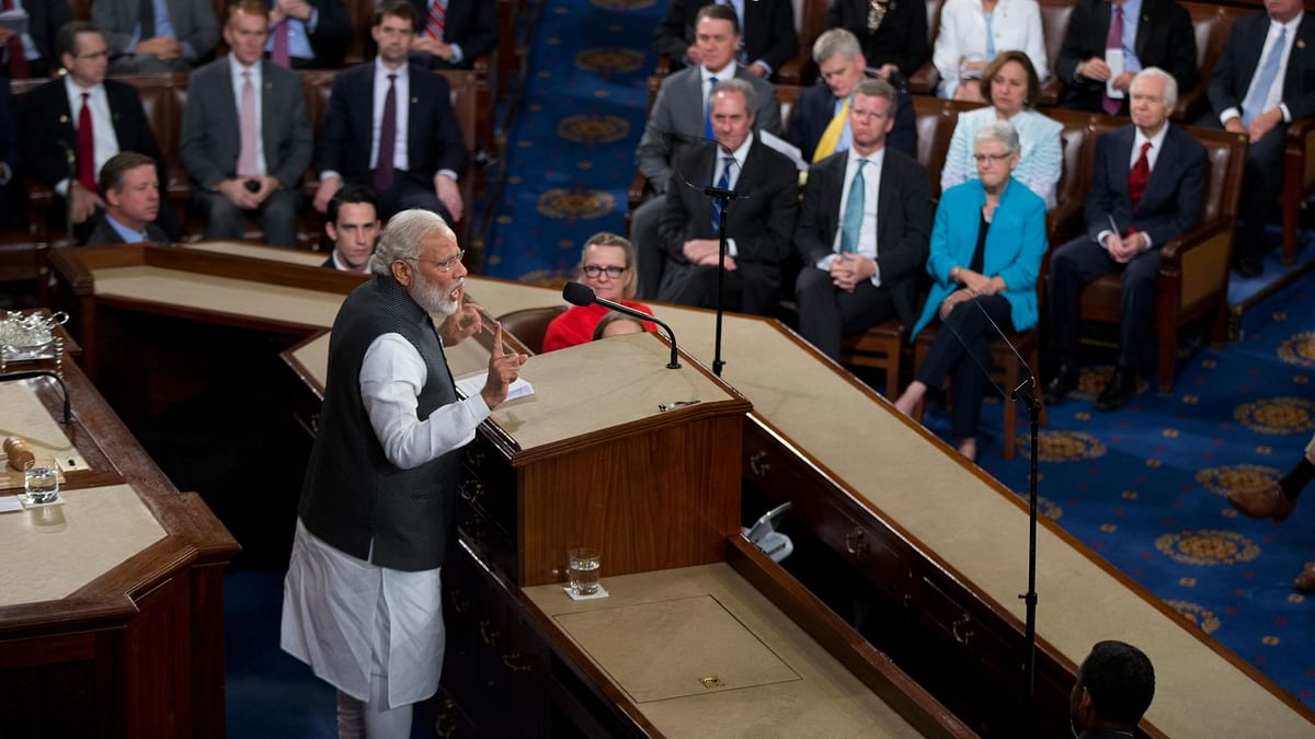Indian Prime Minister Narendra Modi addresses a joint meeting of Congress on Capitol Hill in Washington. (Photo: AP)