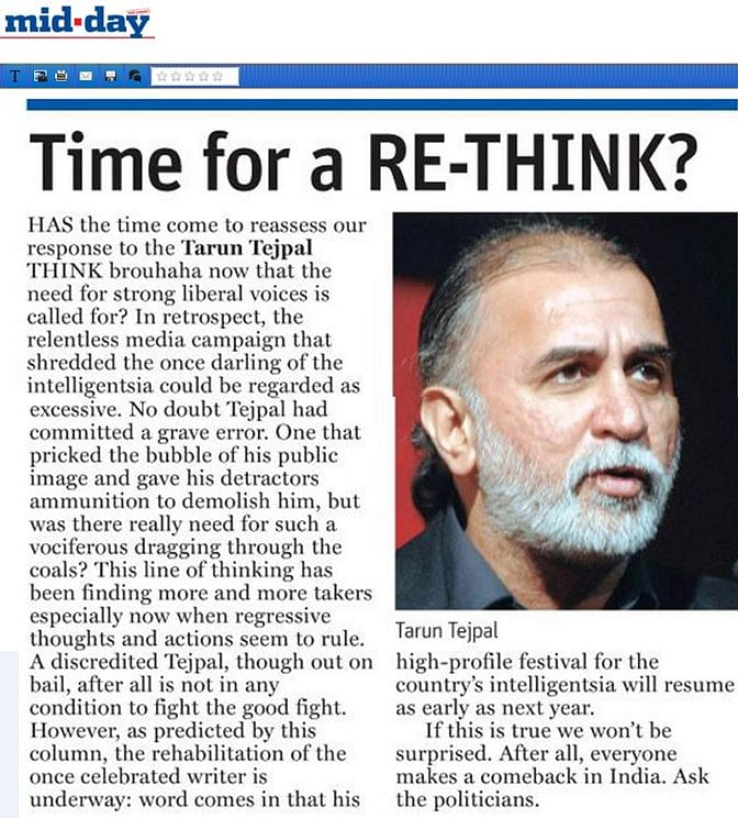 Malavika Sangghvi's column on Mid-Day. (Photo Courtesy: The News Minute)