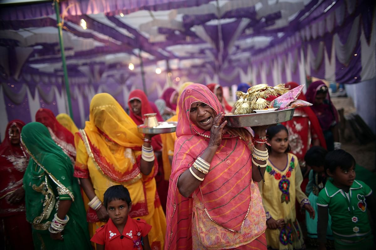 Women sing traditional marital songs at a village wedding in Jaswantpura, Rajasthan. Musical traditions often centre around community events such as births, festivals, marriages and deaths. (Photo: Souvid Datta)