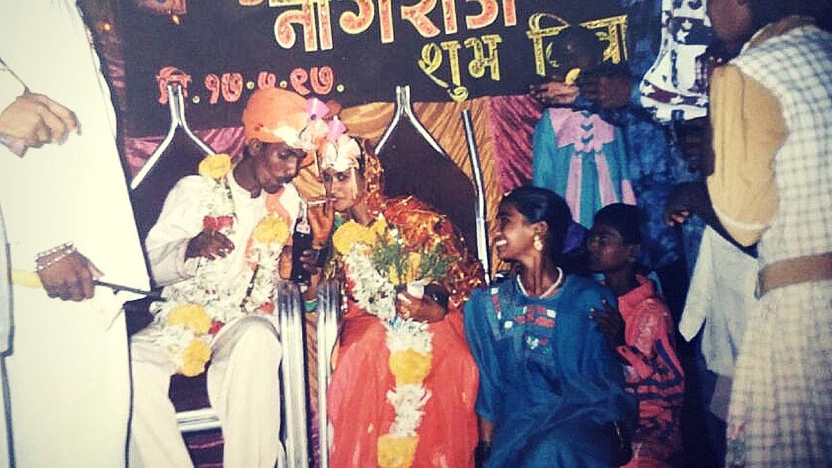 Nagraj Manjule and his wife Sunita on their wedding day in 1997 (Photo courtesy: Akash Supare)