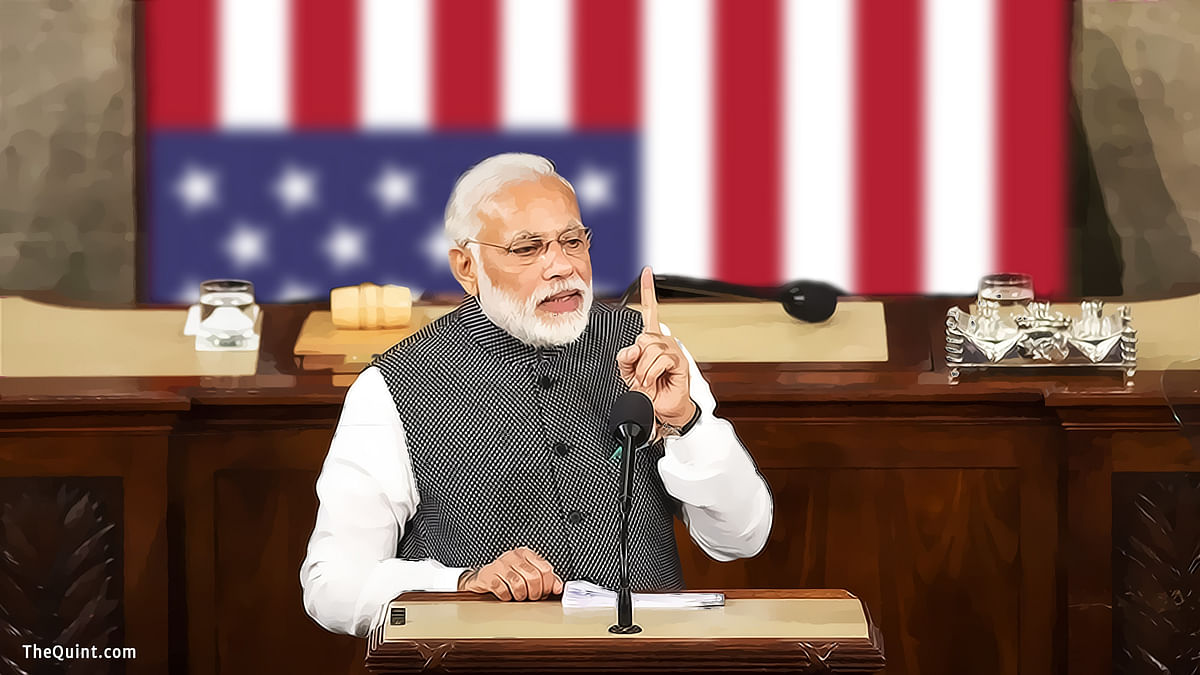 Modi's leadership  has managed to salvage Indo-US ties from the morass they had sunk into during the last few years of the UPA-II. (Photo: IANS/ Altered by <b>The Quint</b>)