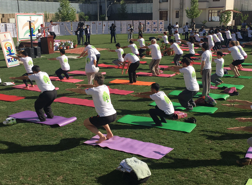 "Yoga day session in Afghanistan. (Photo Courtesy: Twitter/<a href=""https://twitter.com/IndianDiplomacy"">Indian Diplomacy</a>)"