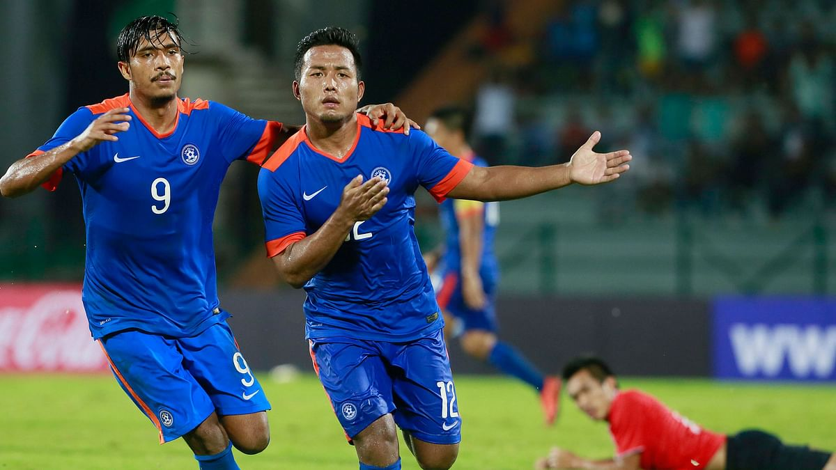 Jeje Lalpekhlua (right), celebrates after scoring a goal against Laos. (Photo: AP)