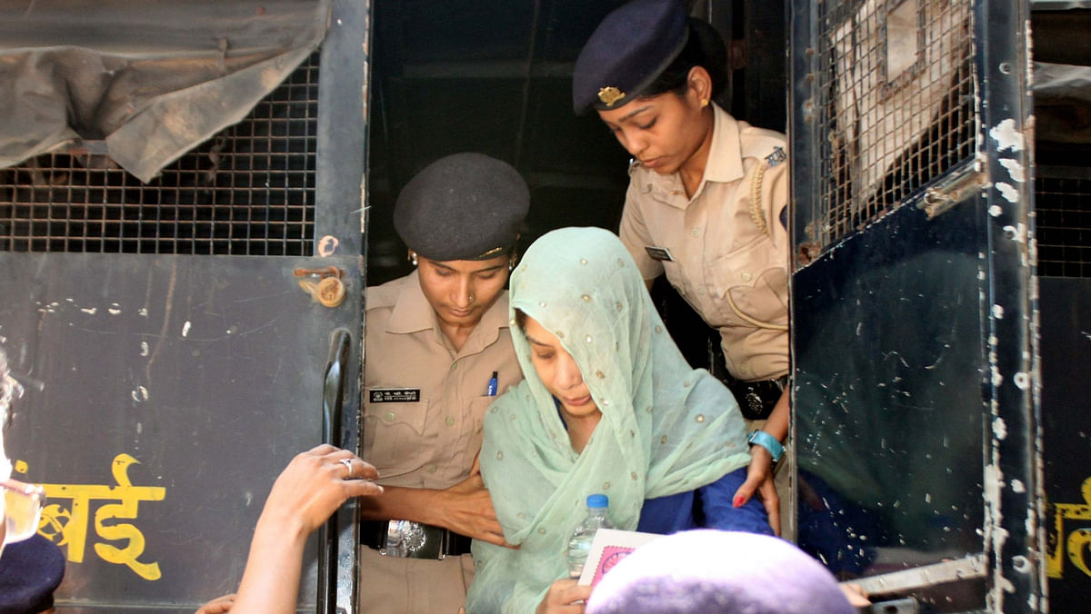Indrani Mukherjea, suspected accused in Sheena Bora murder case after being produced at a Mumbai Court on November 20, 2015. (Photo: IANS)