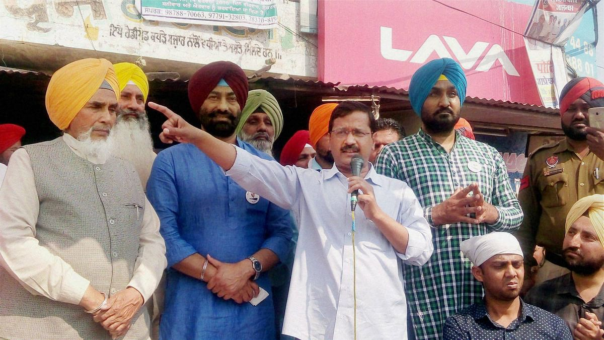 Delhi chief minister Arvind Kejriwal addressing a rally in Punjab. (Photo: PTI)