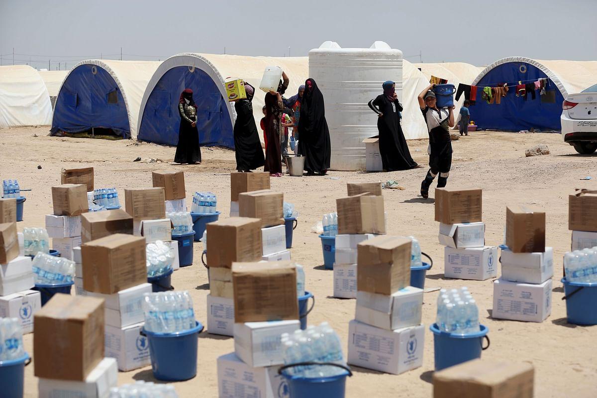 Internally displaced civilians at a camp. (Photo: AP)