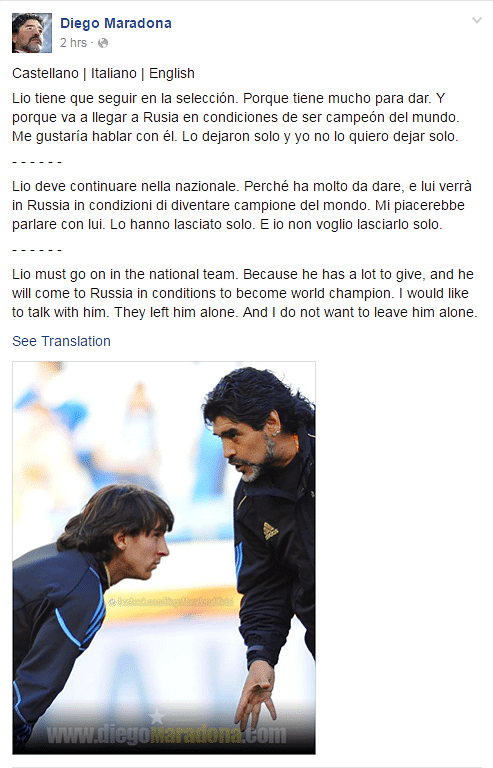 "(Photo Courtesy:<a href=""https://www.facebook.com/DiegoMaradonaOficial/photos/a.457499340968087.117729.104346839616674/1161879877196693/?type=3&amp;theater""> Facebook/Diego Maradona</a>)"