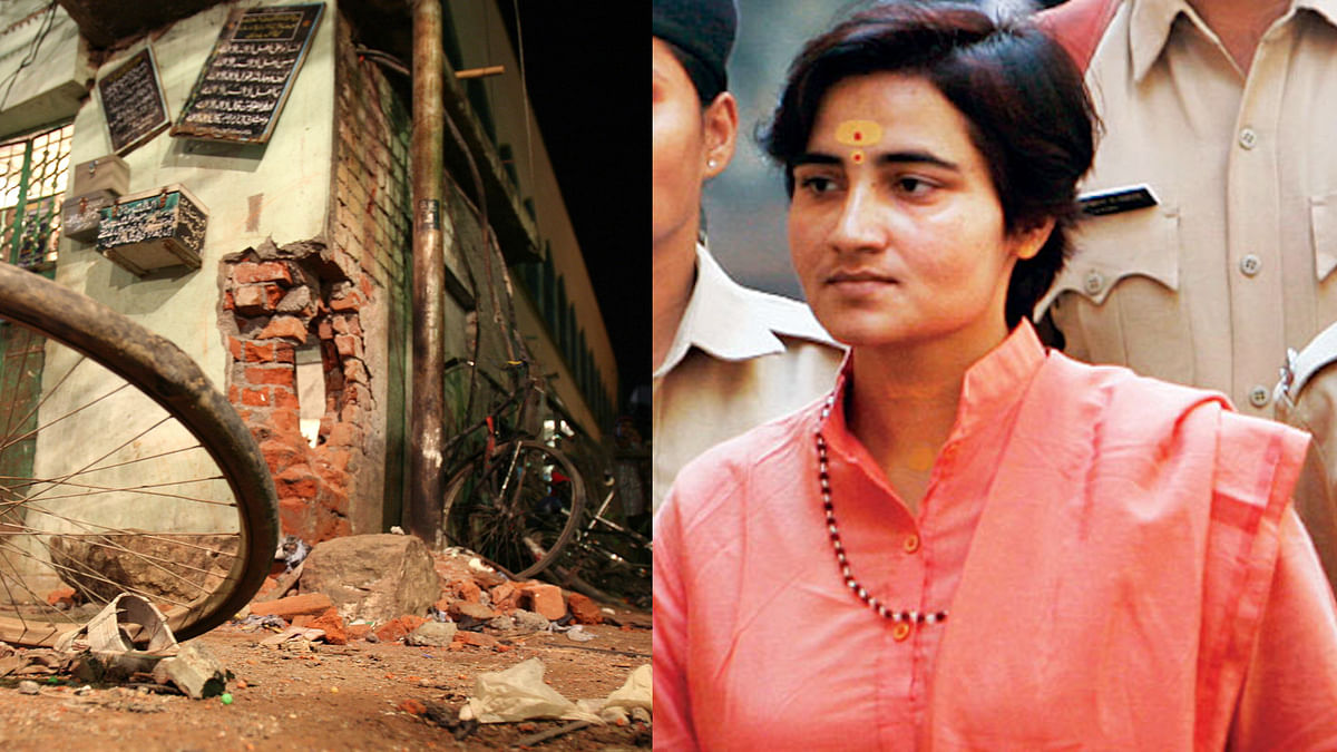 The NIA has dropped all charges against Sadhvi Pragya Thakur and five others in the 2008 Malegaon blast case. (Photo: Altered by <b>The Quint</b>)