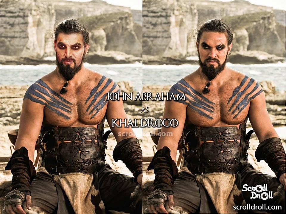 "John Abraham as Khal Drogo. (Photo Courtesy: Facebook/<a href=""https://www.facebook.com/media/set/?set=a.1709635029301604.1073741888.1512912428973866&amp;type=3"">ScrollDroll</a>)"