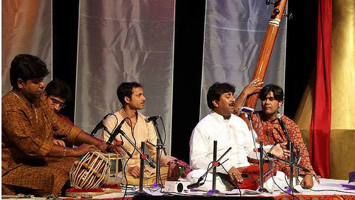 Rashid Khan immersed in a performance.