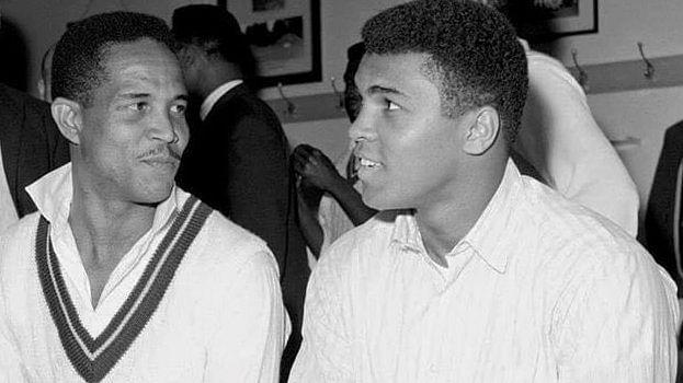 """Garfield Sobers (L) and Muhammad Ali (R). (Photo: <a href=""""https://twitter.com/koolionheart"""">Koolionheart Twitter</a>)"""