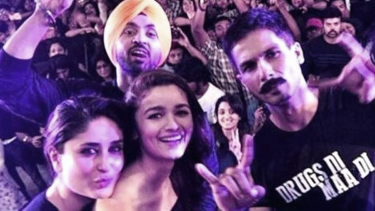 Kareena Kapoor, Alia Bhatt, Diljit Dosanjh and Shahid Kapoor come together to launch the trailer of Udta Punjab (Photo Courtesy: Twitter/@KareenaUpdates)