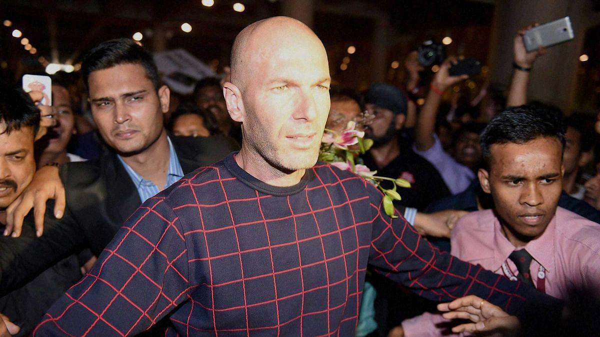 Real Madrid coach Zinedine Zidane  at the International airport in Mumbai on Thursday. (Photo: PTI)