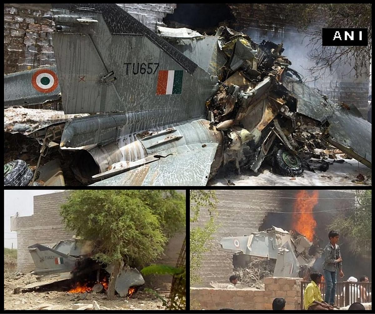 Damaged houses at the MiG-27 crash site in Jodhpur, Rajasthan on Monday, 13 June 2016. (Photo: ANI/<b>The Quint</b>)