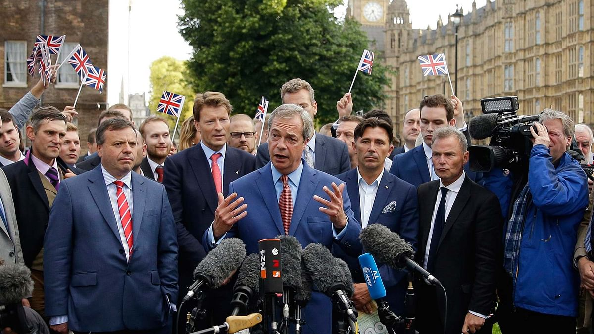 Leader of the UK Independent Party (UKIP) Nigel Farage talks to the media on Friday as UK decided to leave EU. (Photo: AP)