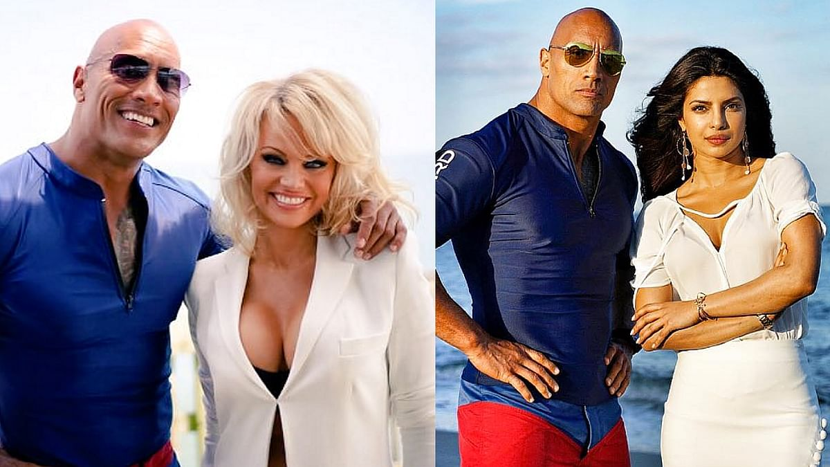 """Dwayane Johnson poses with his two favourite Baywatch ladies Pamela Anderson and Priyanka Chopra (Photo courtesy: <a href=""""https://www.instagram.com/p/BEfKhawIhzb/"""">Instagram/@therock</a>)"""