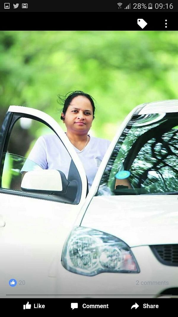 "Veerath Bharathi was Uber India's first female driver. (Photo Courtesy:    <a href=""https://www.facebook.com/bharathi.b.kutty?pnref=story"">Facebook/Veerath Bharathi</a>"