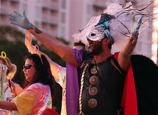 Participants come together in the St. Pete's Pride Parade. (Photo: AP)