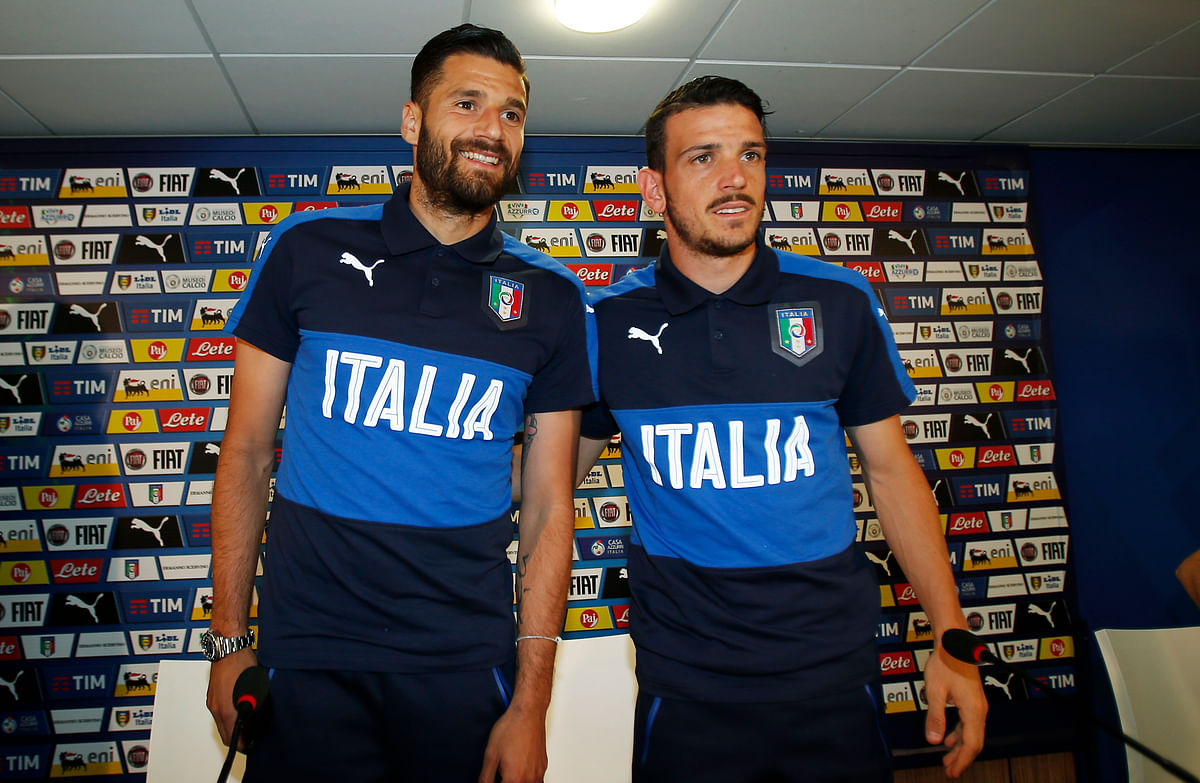 Italians Antonio Candreva, left, and Alessandro Florenzi. (Photo: AP)