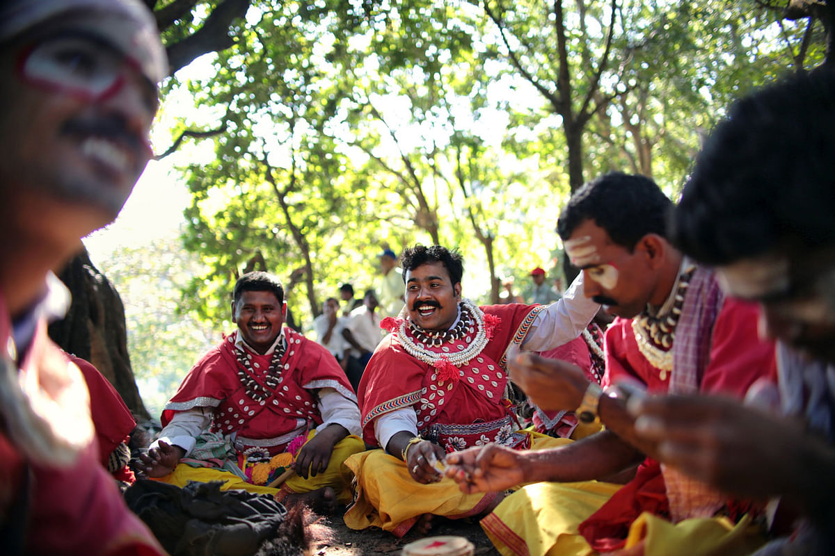 Goravara Kunitha dancers ready themselves for a public performance in Karnataka.  (Photo: Souvid Datta)