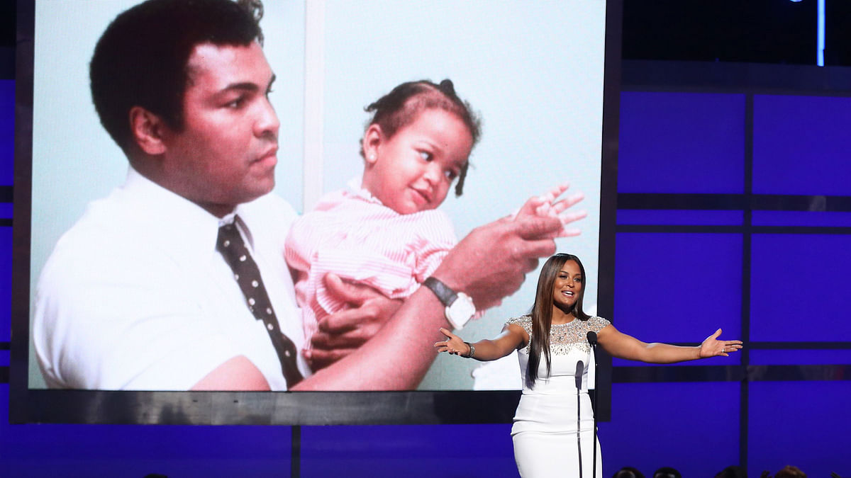 Laila Ali speaks during a tribute to her late father, Muhammad Ali, at the BET Awards at the Microsoft Theater on Sunday. (Photo: AP)