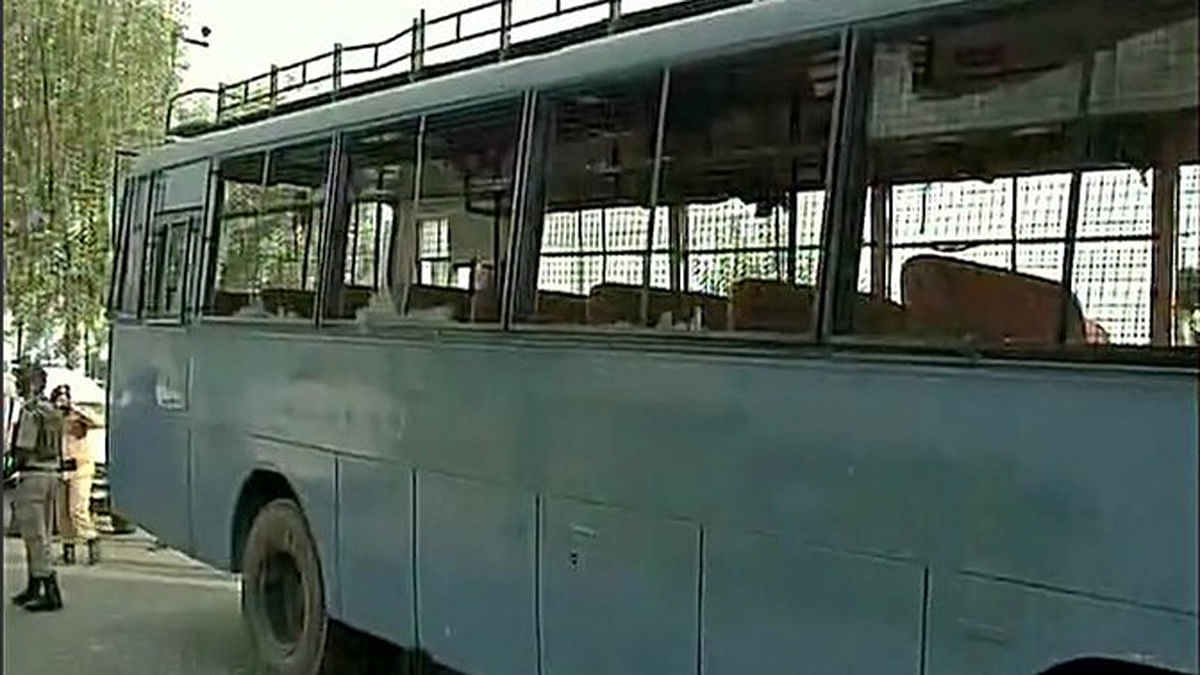 """The CRPF bus that was attacked by the militants. (Photo Courtesy: <a href=""""https://twitter.com/ANI_news/status/746685800448851968"""">Twitter/@ANI_news</a>)"""