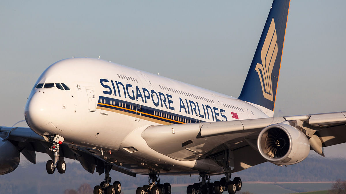 An Airbus A380 as part of Singapore Airlines' troupe.