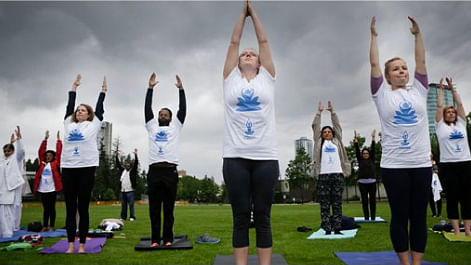 International Yoga Day observed all over the world after UN General Assembly adopted the resolution (Photo: Twitter Screengrab)