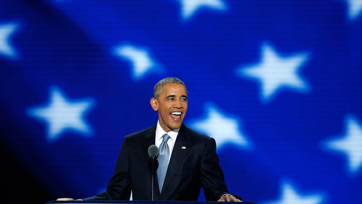 US President Barack Obama speaking at the Democratic National Convention in Philadelphia. (Photo: AP)