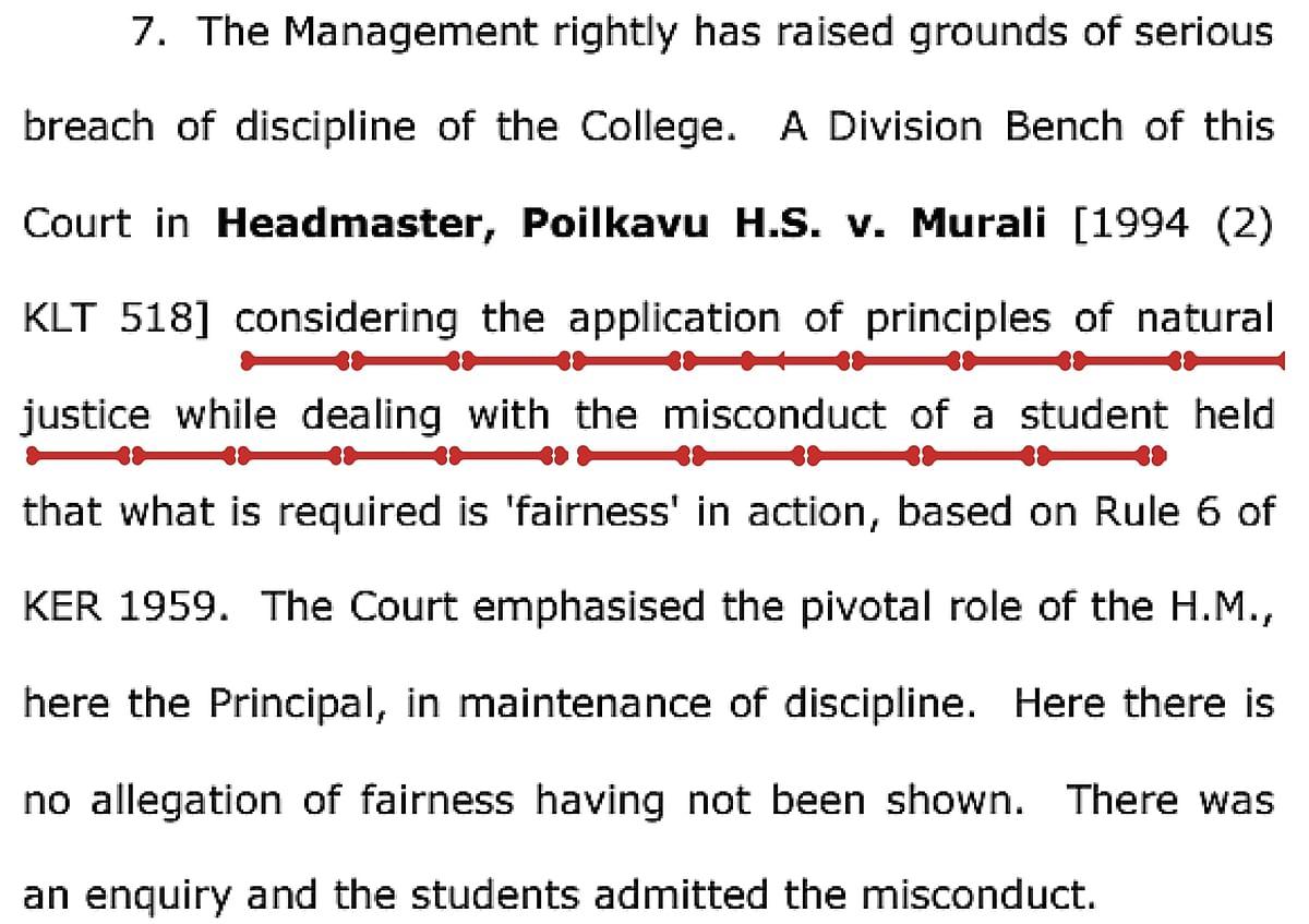 (Screenshot of an excerpt from the Kerala HC verdict)