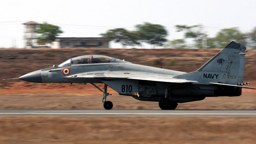 "A MiG-29K aircraft prepares to take off at INS Hansa. (Photo: <a href=""http://indiannavy.nic.in/content/mig-29k"">Indian Navy</a>)"