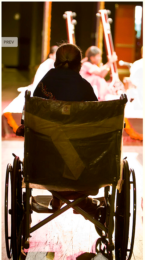"""When she became too old and weak to sing, Gangubai watched performances from her wheelchair (Photo Courtesy: <a href=""""http://www.parrikar.org/photos/gangubai-hangal-photo-album/"""">parrikar.org/photos/gangubai-hangal</a>)"""