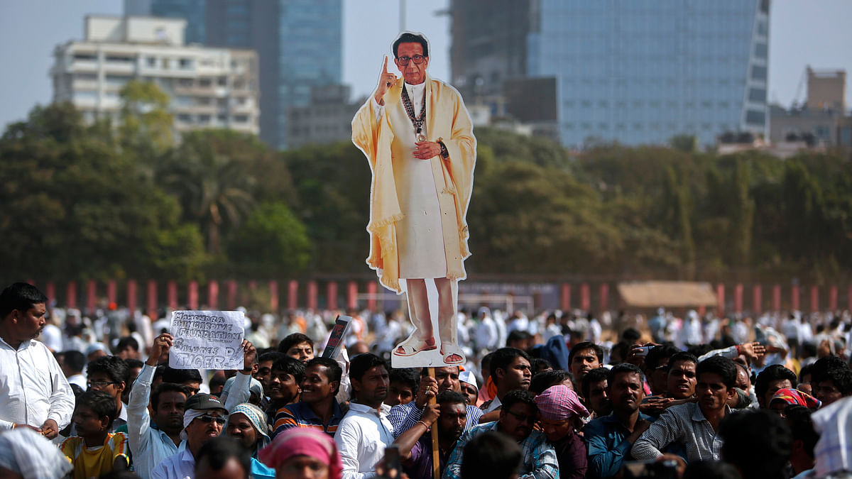 A property dispute broke out after Bal Thackeray died in November 2012. Seen in the picture are supporters carrying his cut-out before his cremation. (Photo: Reuters)
