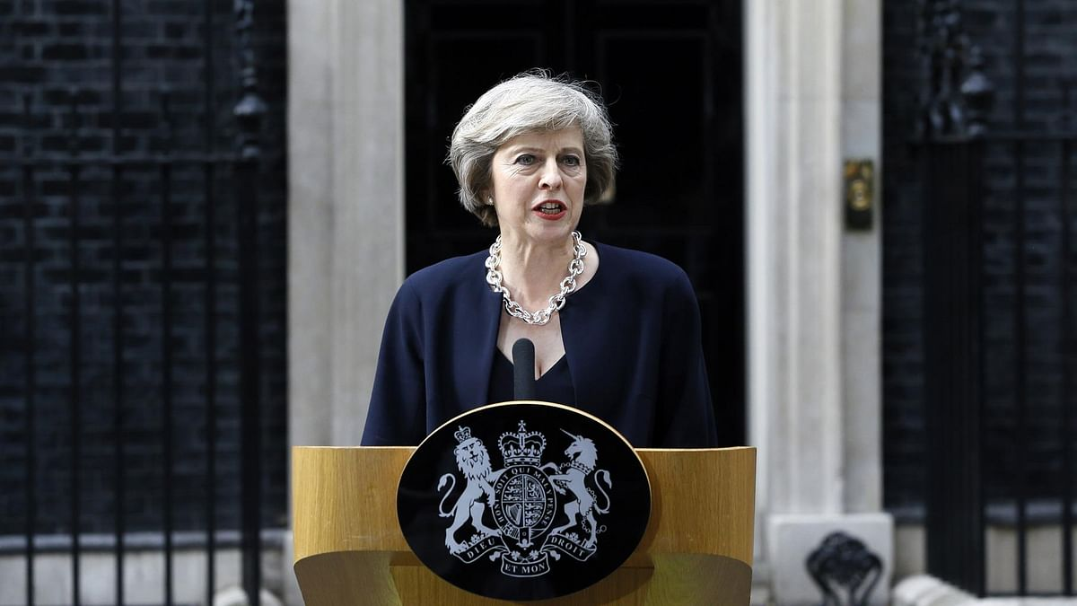 File photo of British Prime Minister Theresa May outside her official residence.