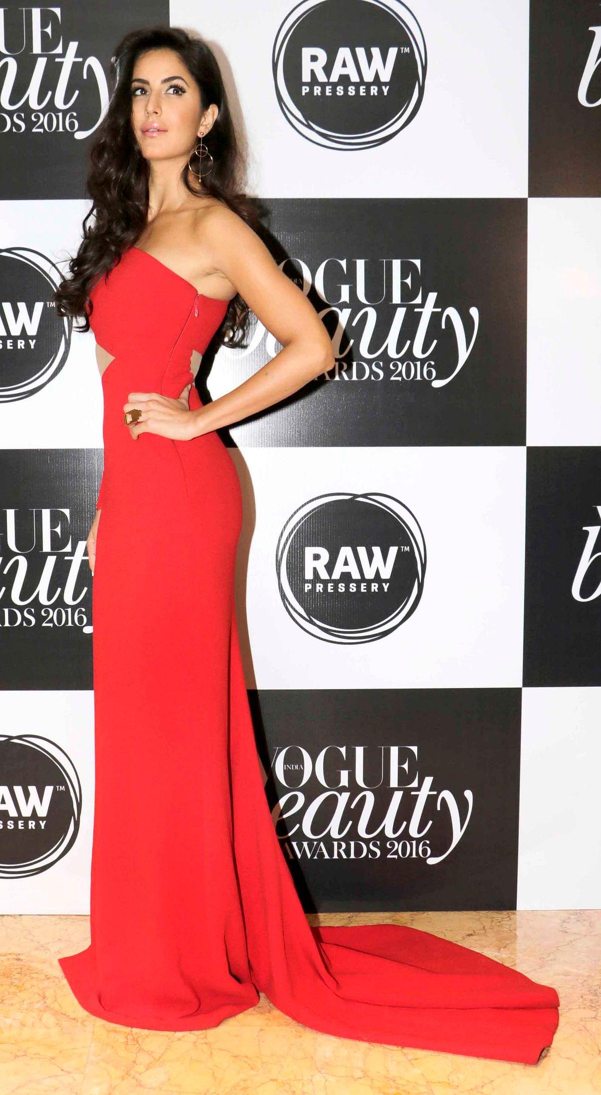 Katrina Kaif in a Romona Keveza gown. (Photo: Yogen Shah)