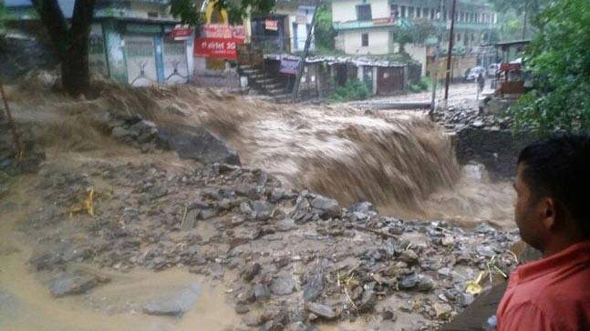 Houses washed away in flash flood in Chamoli, Uttarakhand. (Photo: ANI)