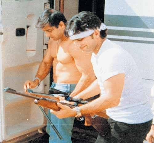 Salman Khan and Saif Ali Khan with the guns that were reportedly used to shoot the blackbucks.