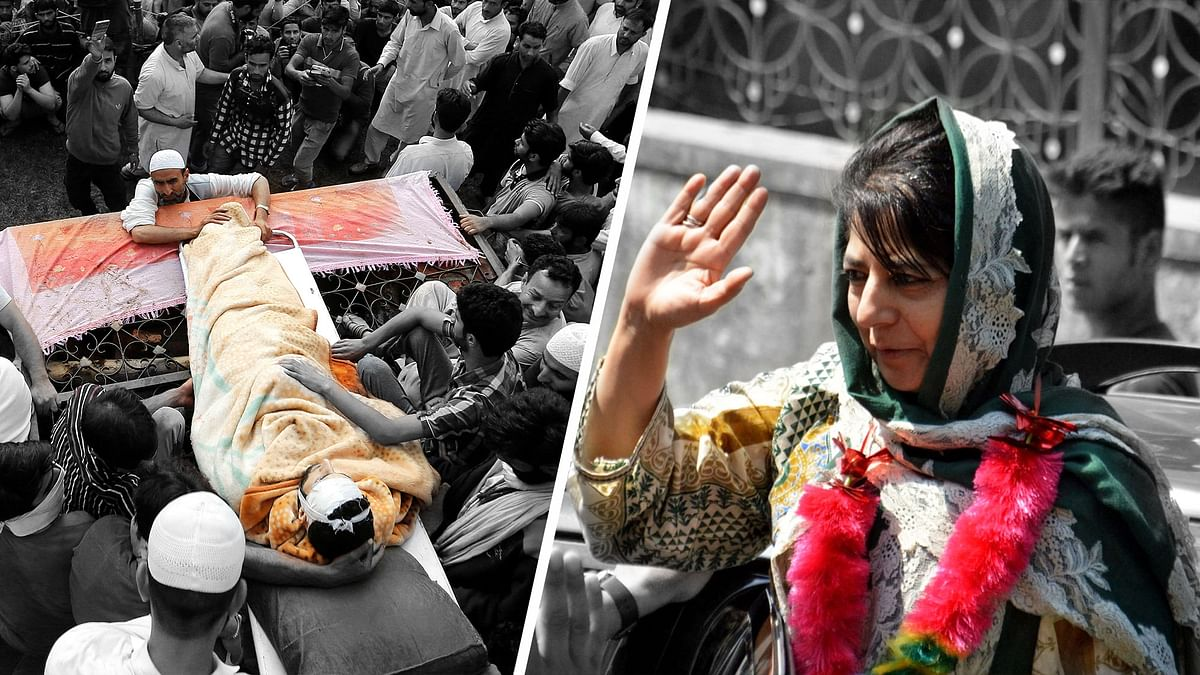 Funeral procession of Hizbul commander, Burhan Wani (L), Jammu and Kashmir chief minister, Mehbooba Mufti (R). (Photo: Agencies/ Altered by <b>The Quint</b>)