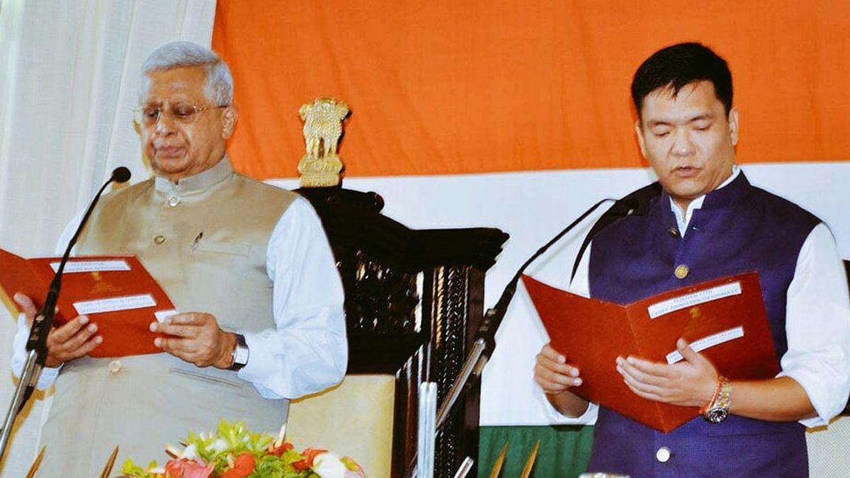 Pema Khandu takes oath as Arunachal CM. (Photo: IANS)